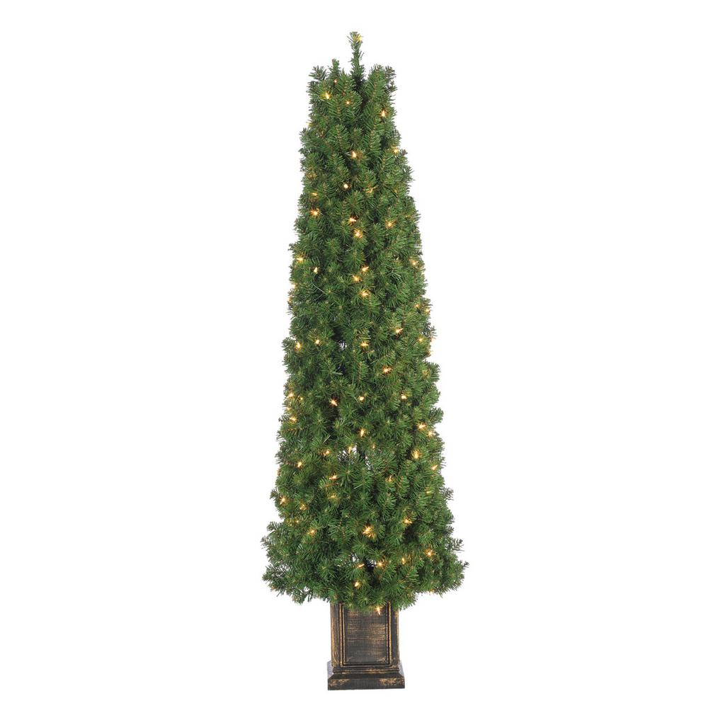 Sterling 5 ft. Pre-Lit Potted Tower Artificial Christmas Tree with 150 Clear Lights-5220--50C ...