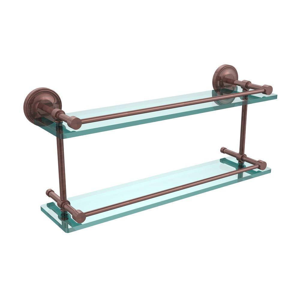 Prestige Regal 22 in. L  x 8 in. H  x 5 in. W 2-Tier Clear Glass Bathroom Shelf with Gallery Rail in Antique Copper