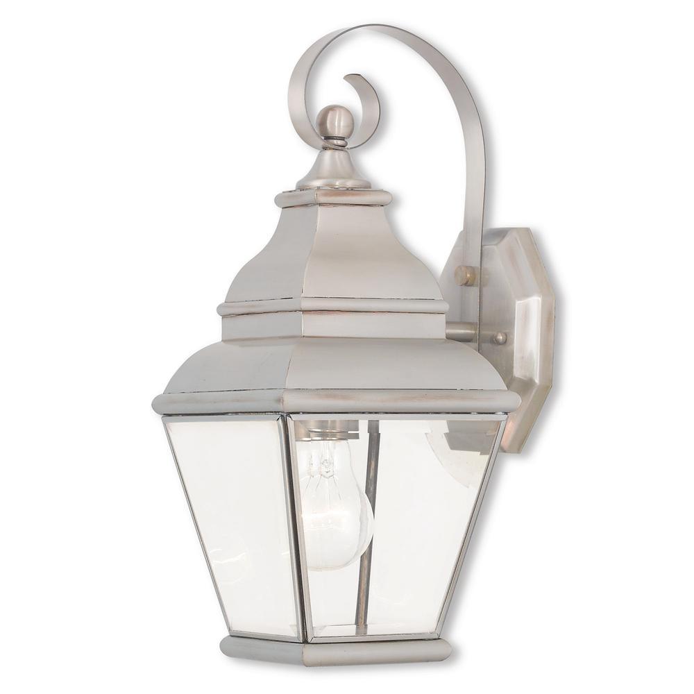 Exeter 1-Light Brushed Nickel Outdoor Wall Mount Lantern