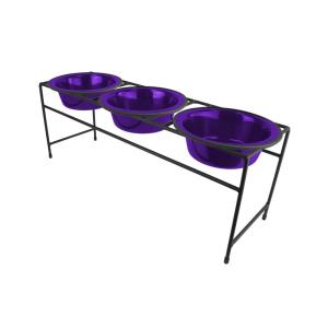 Platinum Pets 3.5 Cup Triple Modern Diner Feeder with Dog Bowls, Electric Purple by Platinum Pets