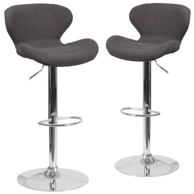 42.25 in. Charcoal Fabric Bar Stool (Set of 2)