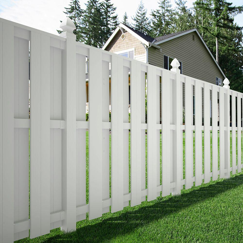 Veranda Palatine 6 Ft H X W White Vinyl Shadowbox Fence Panel Unembled