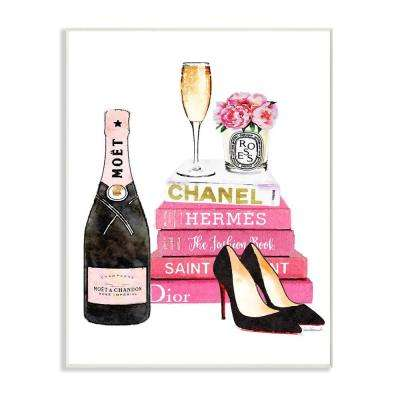 """12.5 in. x 18.5 in. """"Glam Pink Fashion Book Champagne Heels and Flowers"""" by Amanda Greenwood Printed Wood Wall Art"""