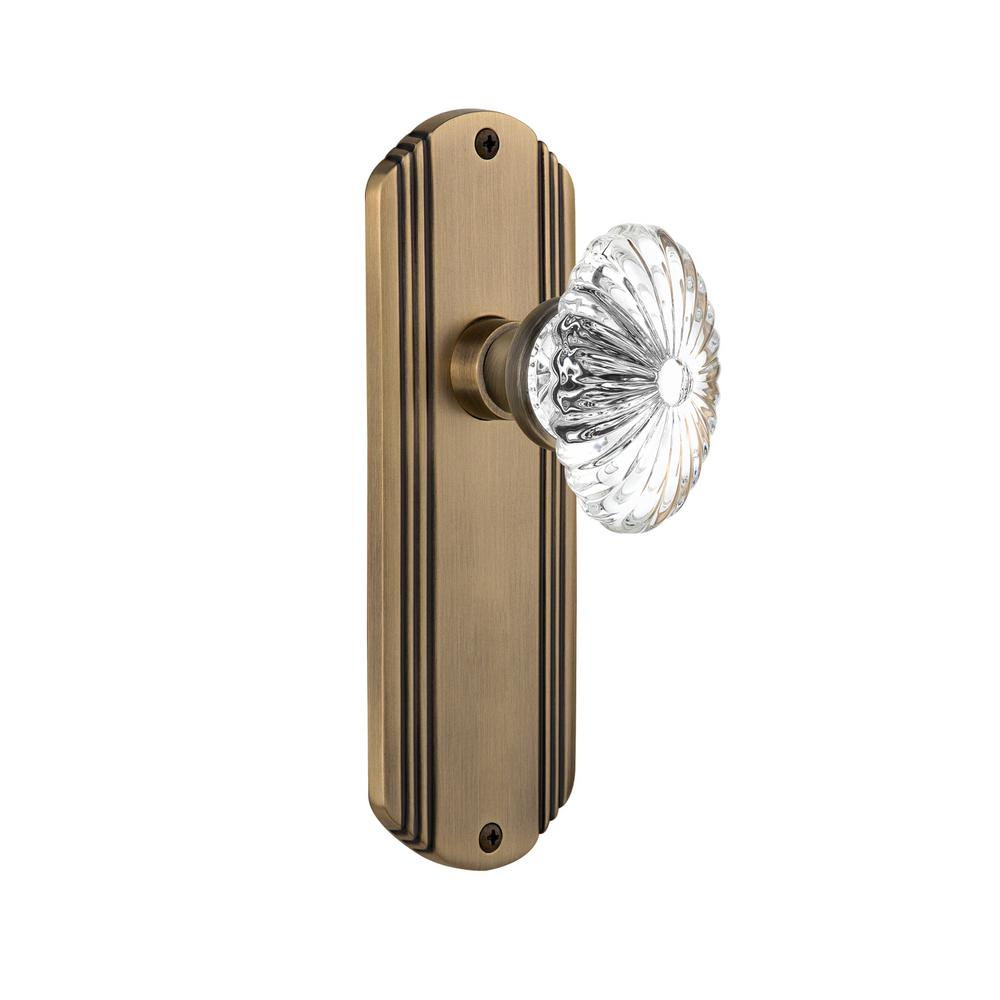 Exceptional Nostalgic Warehouse Deco Plate Single Dummy Oval Fluted Crystal Glass Door  Knob In Antique Brass