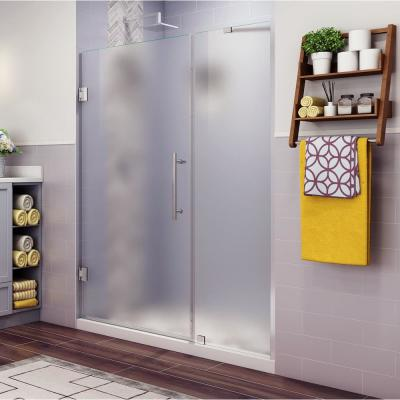 Belmore 43.25 in. to 44.25 in. x 72 in. Frameless Hinged Shower Door with Frosted Glass in Stainless Steel