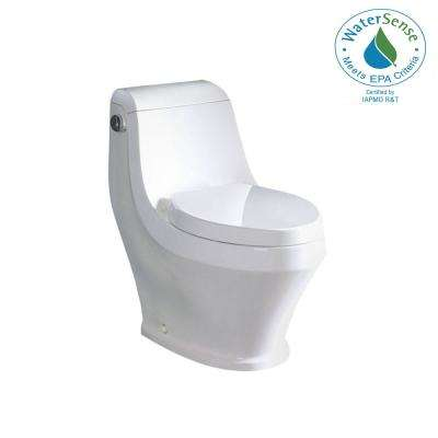 Contemporary 1-Piece 1.28 GPF Single Flush Elongated Toilet in White, Seat Included