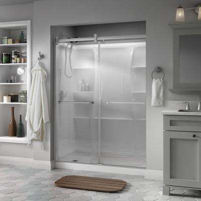 Everly 60 x 71 in. Frameless Contemporary Sliding Shower Door in Nickel with Clear Glass