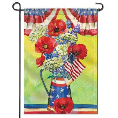 18 in. x 12.5 in. Double Sided Premium July 4th Poppy Flowers Patriotic USA Garden Flags Weather Resistant Double Stitch