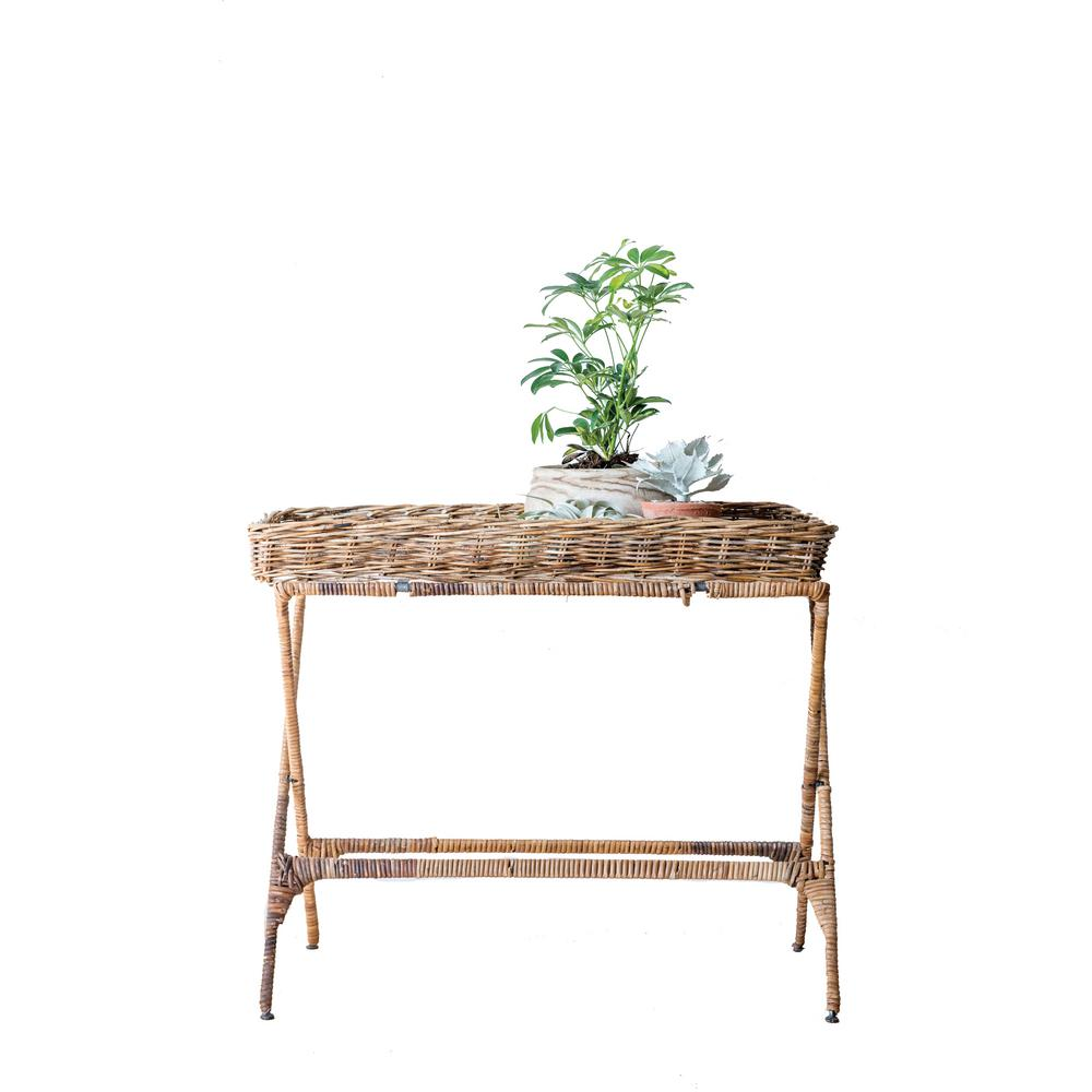 Woven Roots Brown Arurog Tray with Folding Metal Stand