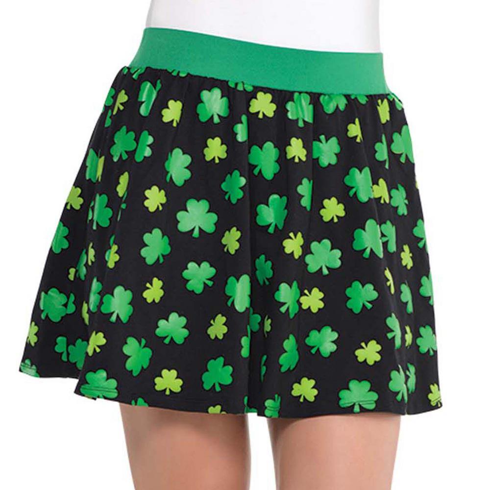 Black Cotton Polyester Blend Shamrock St. Patrick's Day Skirt