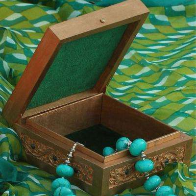Gold and Green Velvet Handmade Mango-Wood Jewelry Box with Trinket Box with Exquisite Zari Work