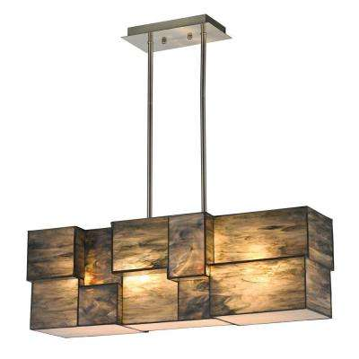 Braque Collection 4-Light Brushed Nickel LED Chandelier With Dusk Sky Tiffany Cube Glass Shade