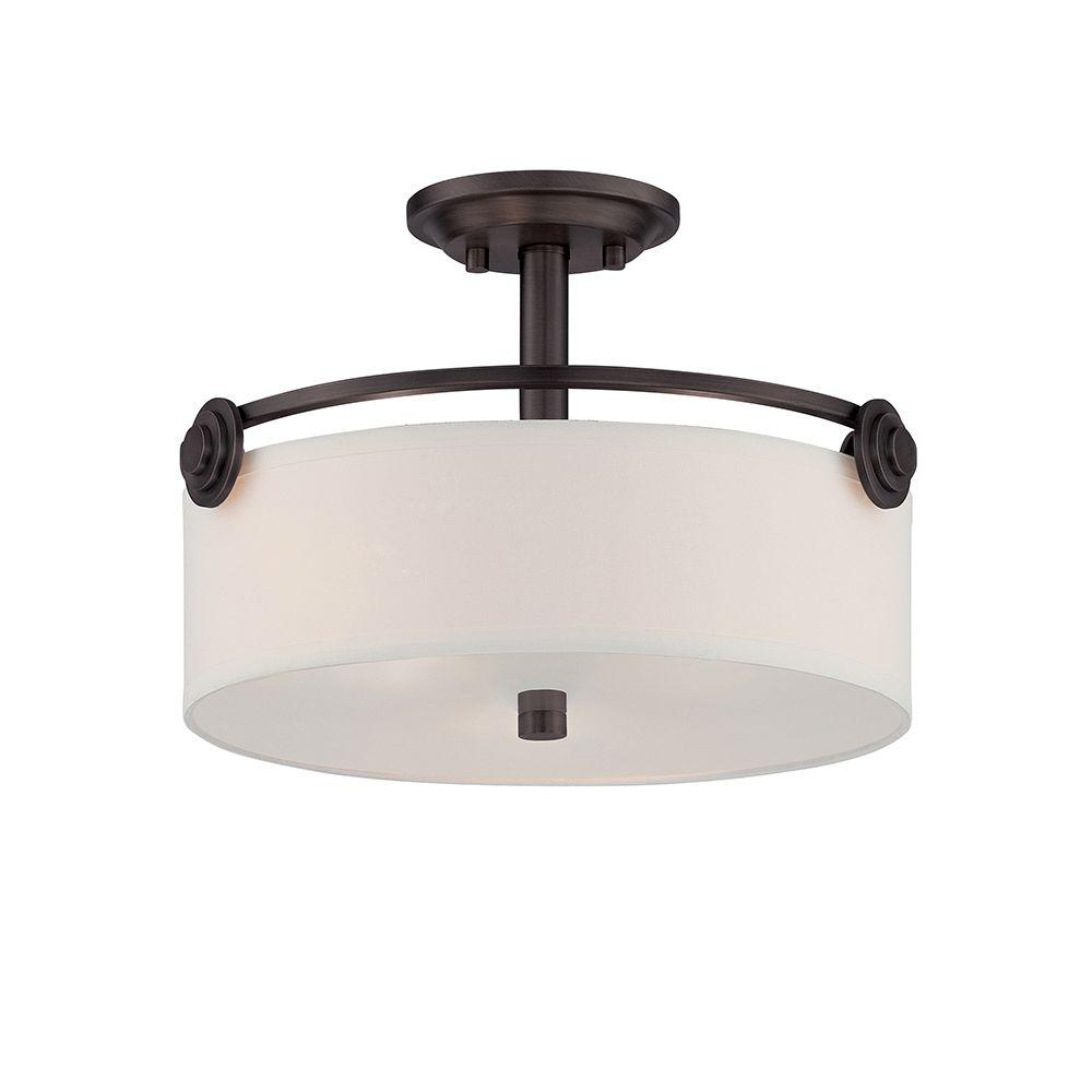 Gramercy Park 3-Light Old English Bronze Interior Incandescent Semi Flush Mount