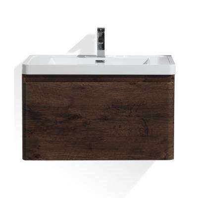 Happy 32 in. W Bath Vanity in Rosewood with Reinforced Acrylic Vanity Top in White with White Basin