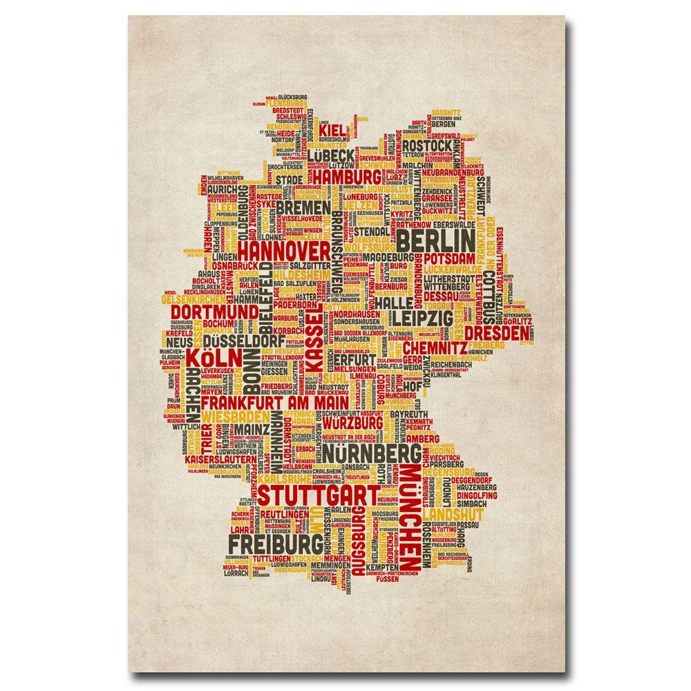 16 in. x 24 in. Germany - Cities Text Map Canvas