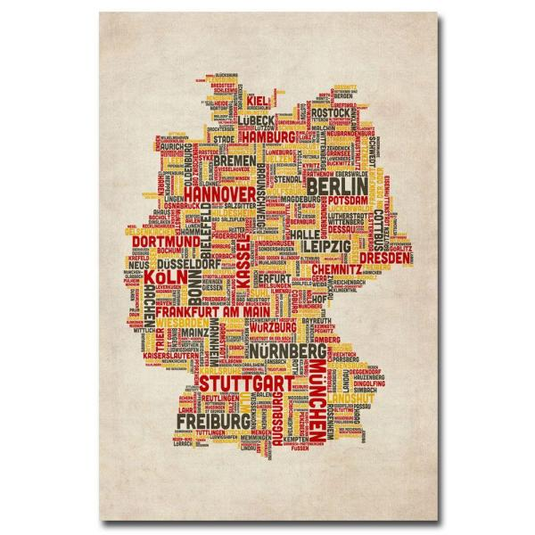 Map Of Cities In Germany.16 In X 24 In Germany Cities Text Map Canvas Art