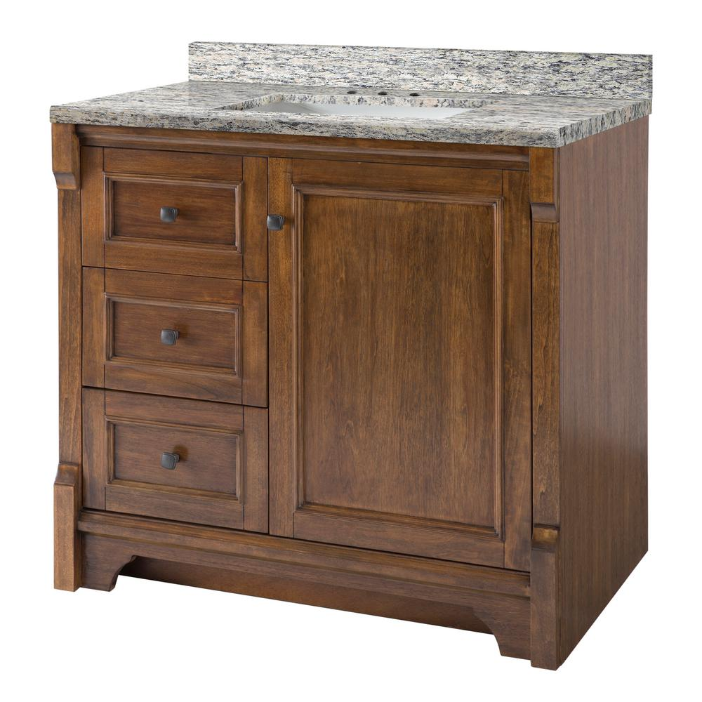 Home Decorators Collection Creedmoor 37 in. W x 22 in. D Vanity in Walnut with Granite Vanity Top in Santa Cecilia with White Sink