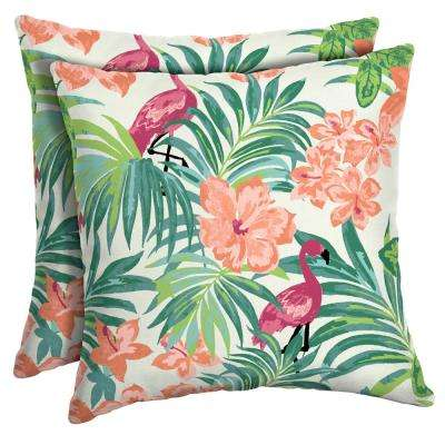 Luau Flamingo Tropical Square Outdoor Throw Pillow (2-Pack)