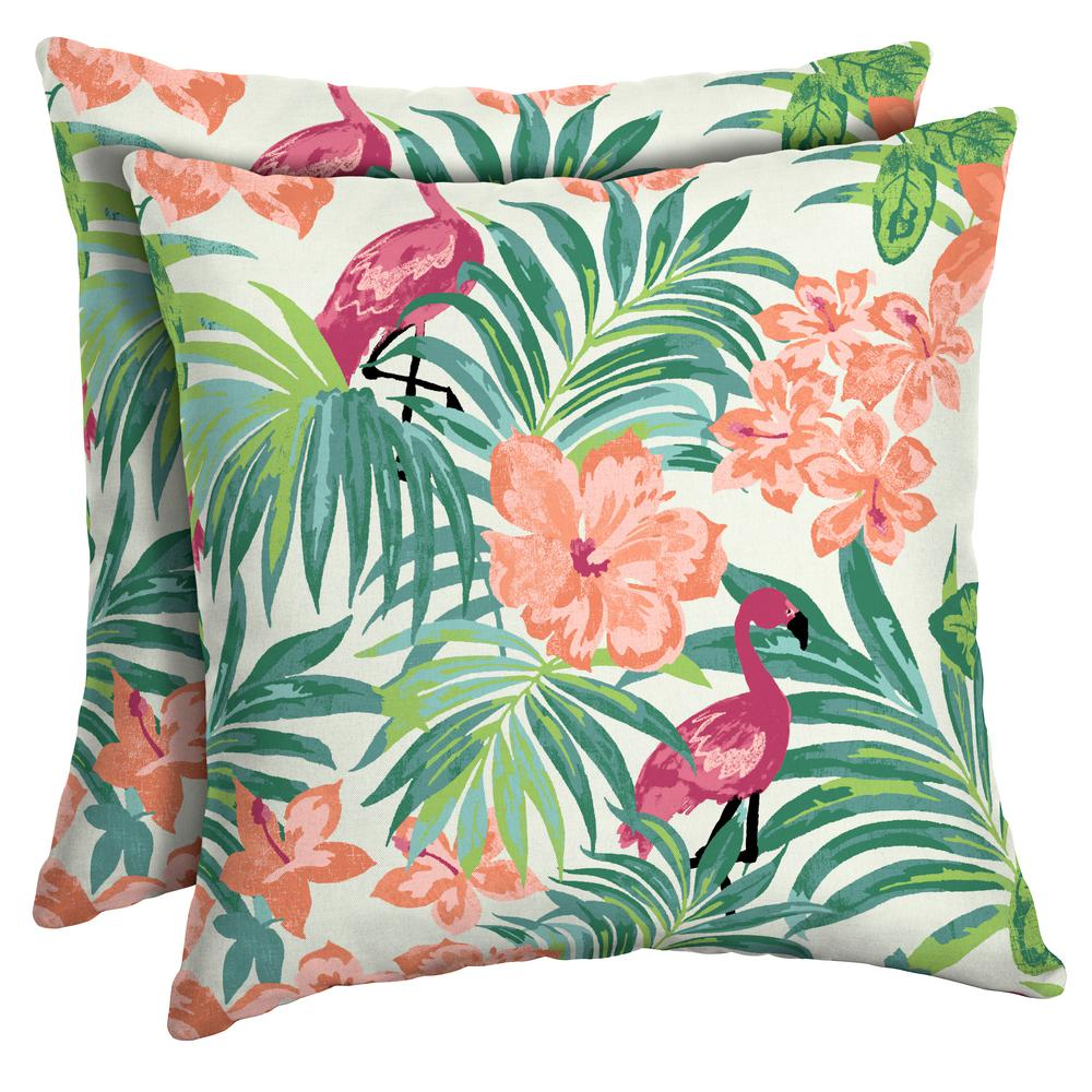 Arden Selections 16 X Luau Flamingo Tropical Square Outdoor Throw Pillow 2 Pack