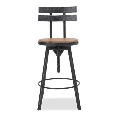 Alanis 39 in. Black Brushed Silver Finished Bar Stool