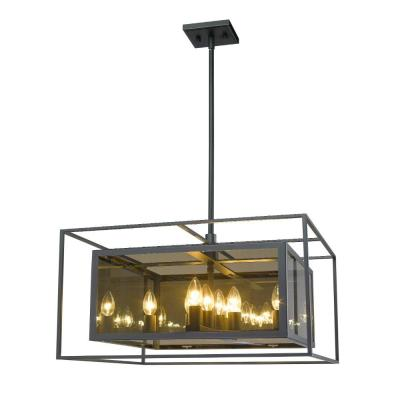 8-Light Misty Charcoal Pendant with Smoke Mirror Glass Shade