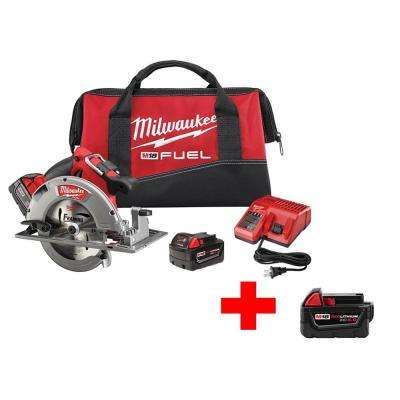 M18 FUEL 18-Volt Lithium-Ion Brushless 7-1/4 in. Cordless Circular Saw Kit with Free M18 18-Volt 5Ah XC Battery