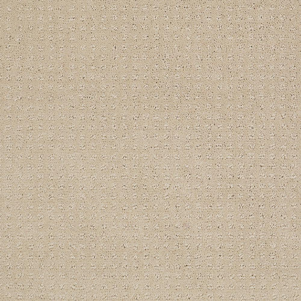 Carpet Sample - Out of Sight I - Color Soft Sun Texture 8 in. x 8 in., Beige/Ivory