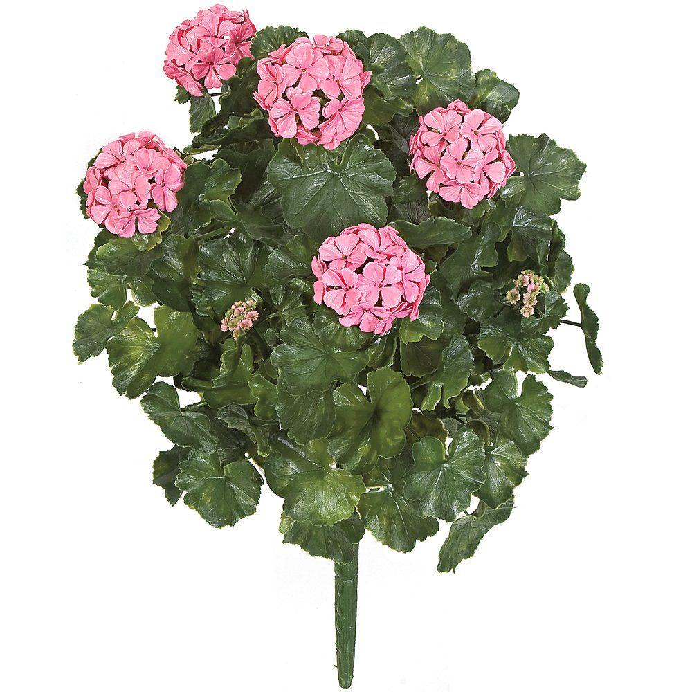 26 In. Artificial Fade Resistant Plastic Outdoor Geranium Bush, Pink