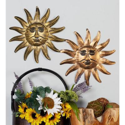 Litton Lane Iron Multicolored Sun Face Metal Works (Set of 3)