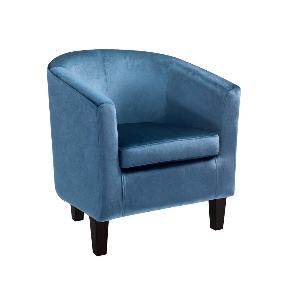 CorLiving Antonio Blue Velvet Tub Chair-LAD-728-C - The Home Depot