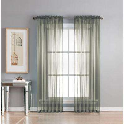 Sheer Diamond Sheer Voile Extra Wide 84 in. L Rod Pocket Curtain Panel Pair, Charcoal (Set of 2)