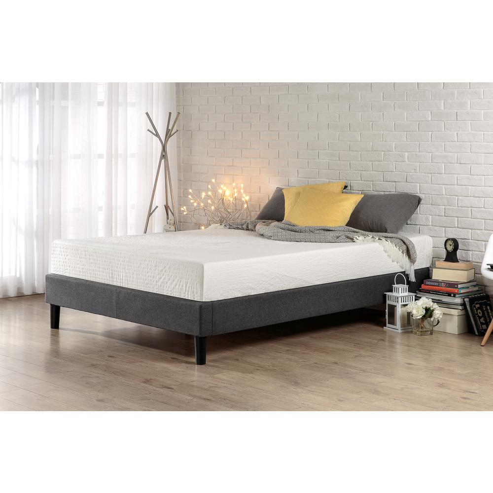 Zinus Essential Queen Upholstered Platform Bed Frame-HD-EFPB-Q - The Home  Depot