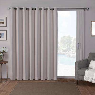 Sateen Patio 100 in. W x 84 in. L Woven Blackout Grommet Top Curtain Panel in Silver (1 Panel)