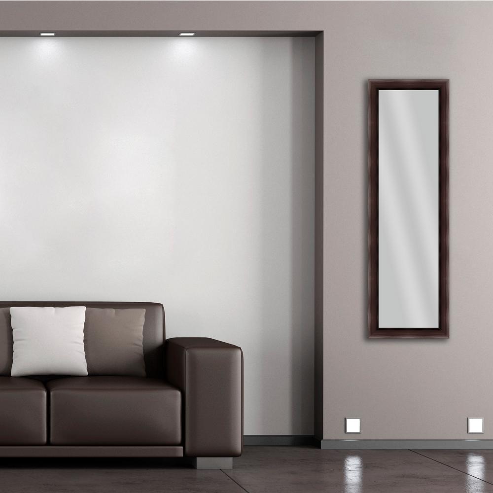 52.25 in. x 16.25 in. Brown Framed Mirror