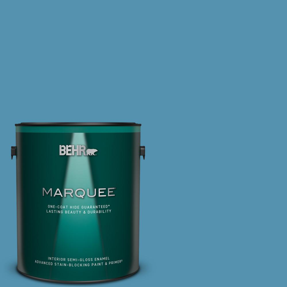 Reviews For Behr Marquee 1 Gal M490 5 Jet Ski One Coat Hide Semi Gloss Enamel Interior Paint Primer 345401 The Home Depot