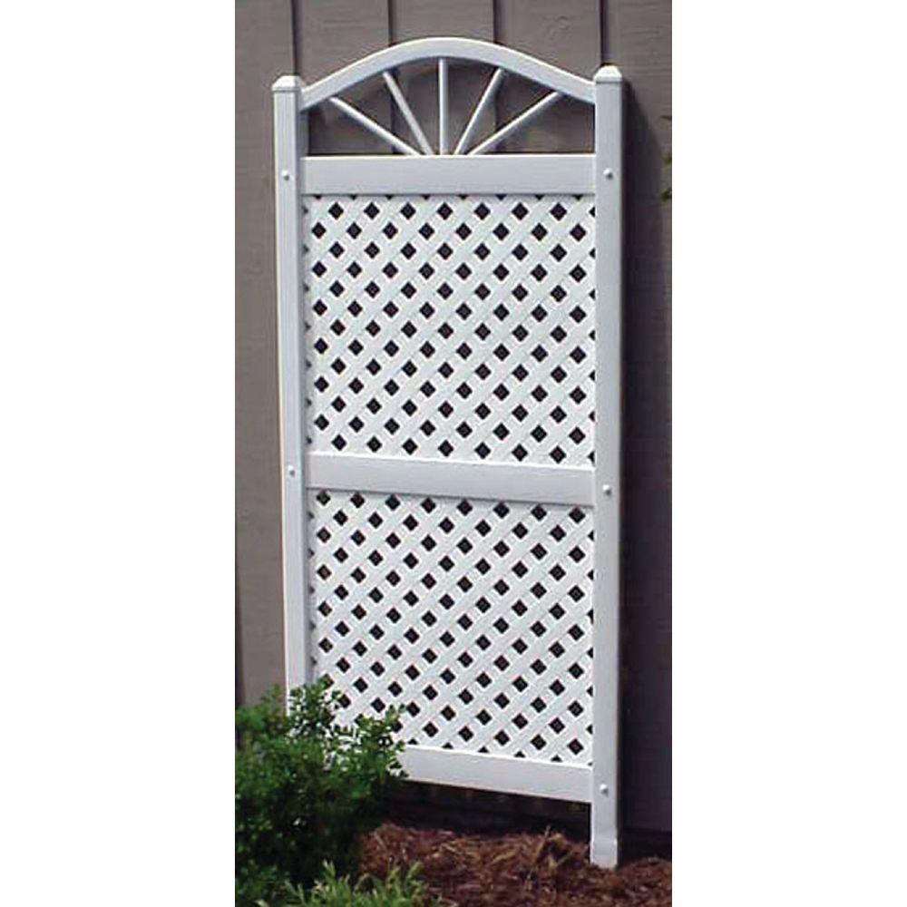 Dura-Trel 62 in. x 28 in. White Vinyl PVC Sunburst Trellis with White Lattice