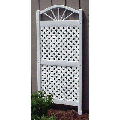 62 in. x 28 in. White Vinyl PVC Sunburst Trellis with White Lattice
