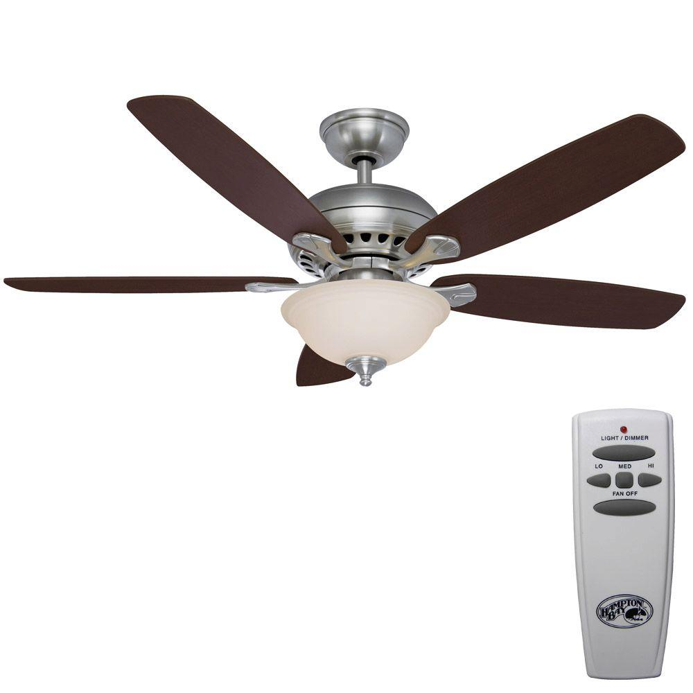 Hampton Bay Southwind 52 in. Indoor Brushed Nickel Ceiling Fan with Light Kit and Remote Control