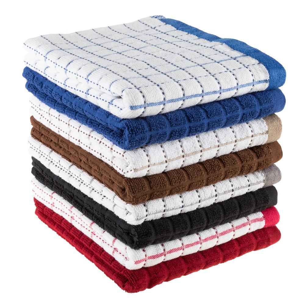 Beau Multi Windowpane Pattern Cotton Fabric Dishcloths (Set Of 8)
