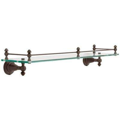 Victorian 20 in. Glass Shelf with Rail in Venetian Bronze
