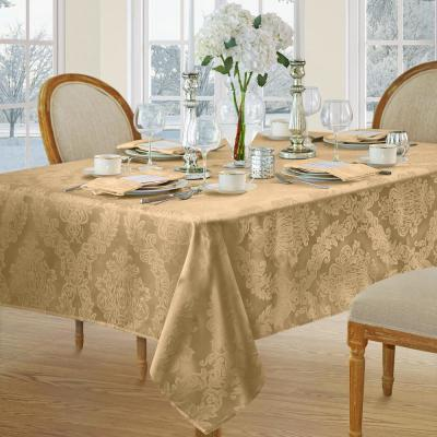 52 in. W X 52 in. L Gold Elrene Barcelona Damask Fabric Tablecloth