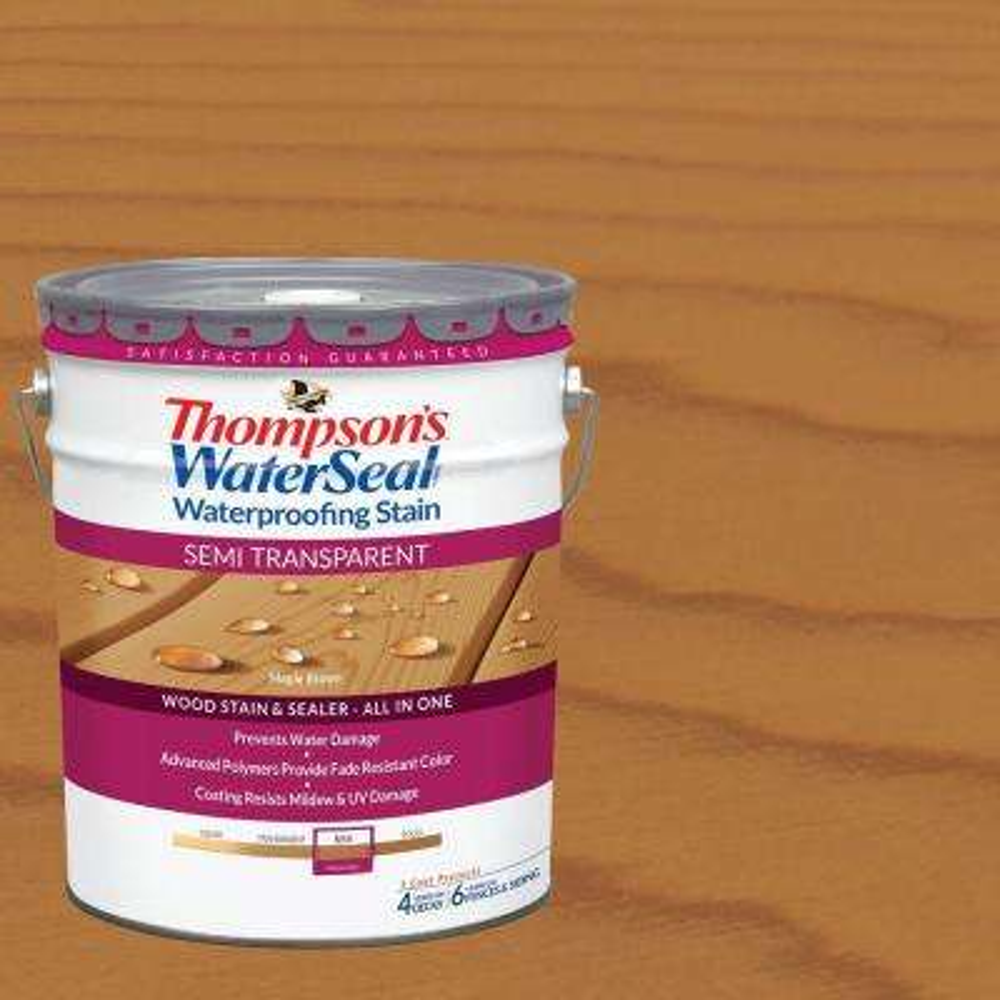 5 gal. Semi-Transparent Maple Brown Waterproofing Stain Exterior Wood