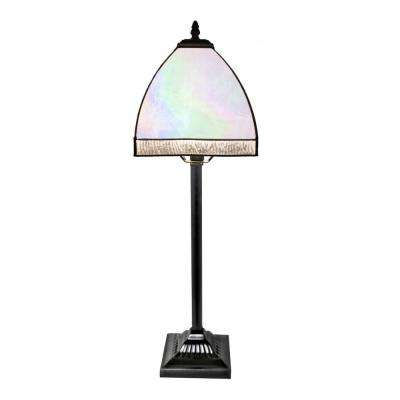 Opalescent bent panel table lamp with stained glass shade