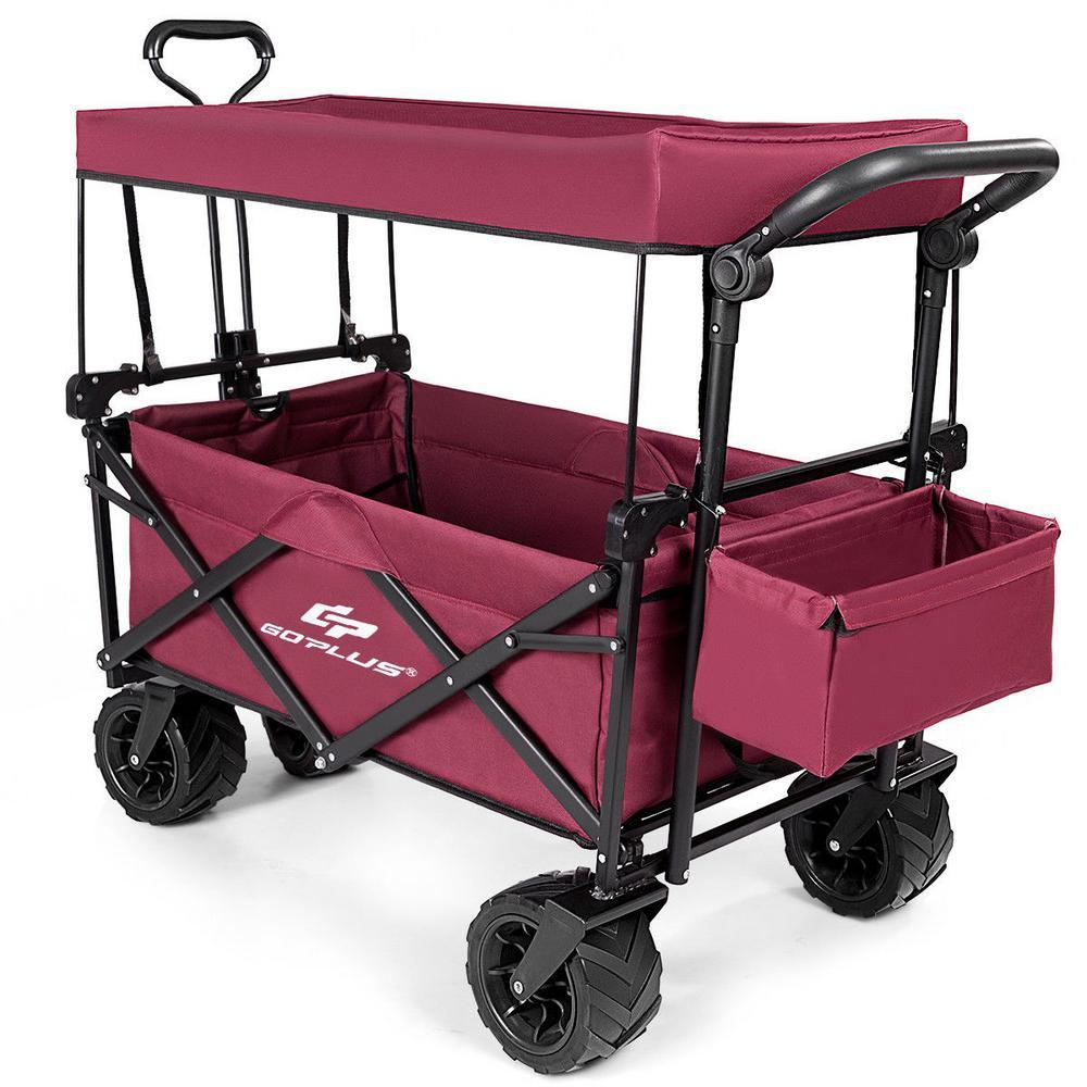 4.01 cu. ft. Steel Plastic Garden Wagon Cart in Wine