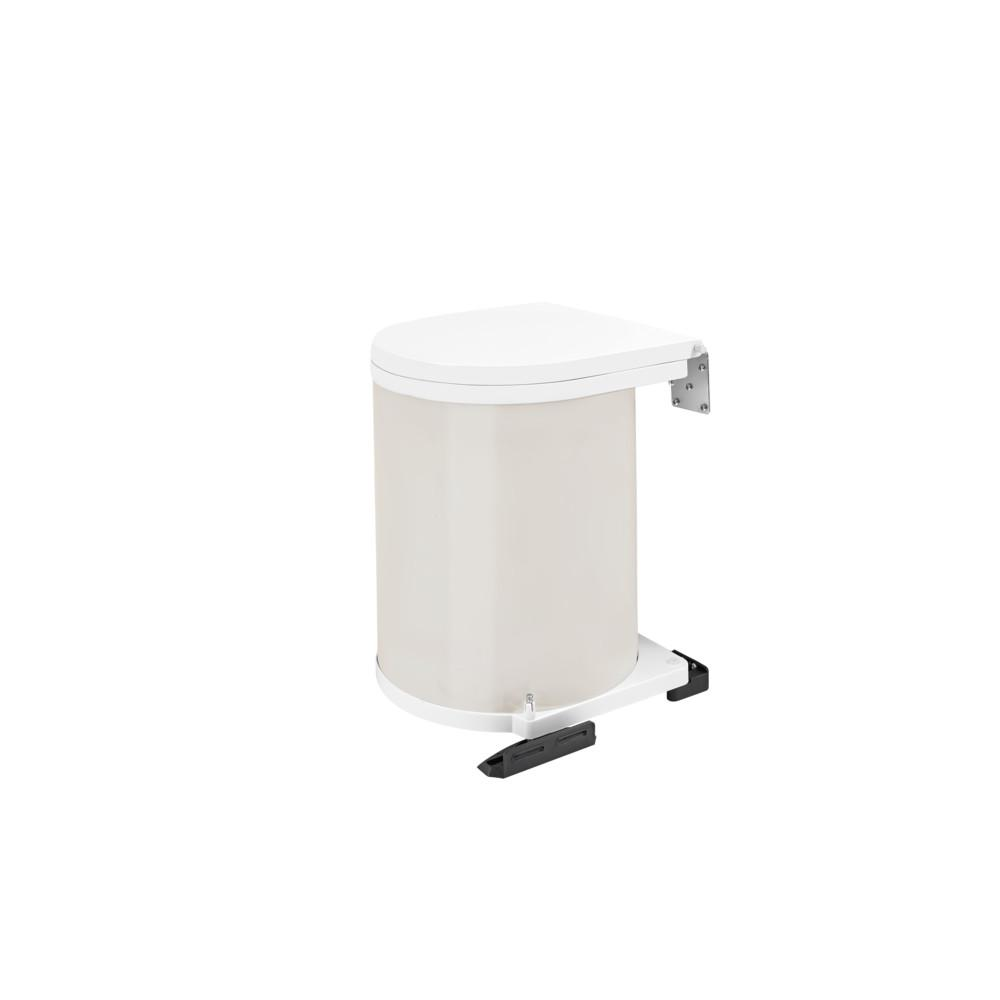 Rev-A-Shelf 13.75 in. H x 11 in. W x 10.5 in. D 14-Liter Lacquered White Pivot-Out Under Sink Waste Container