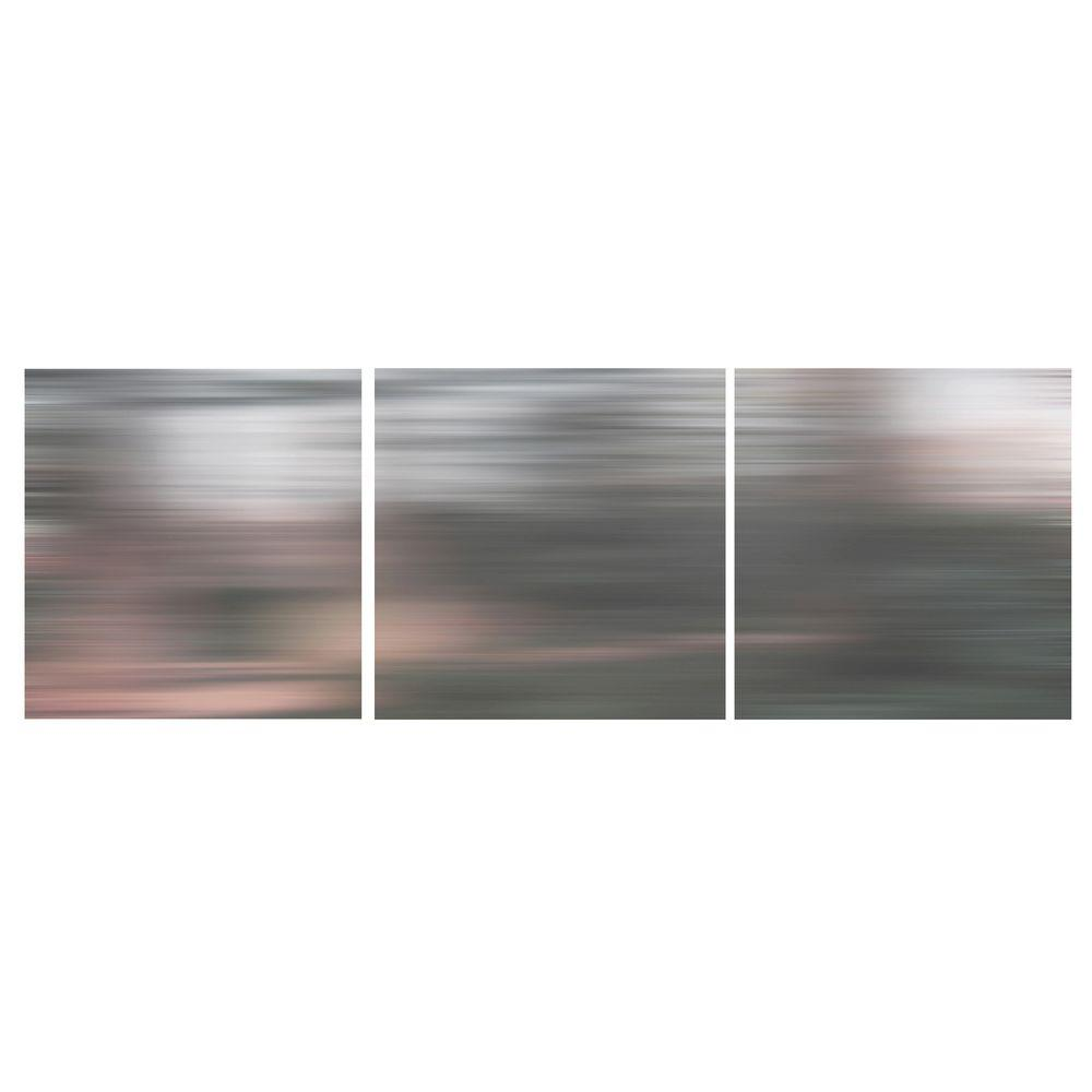 """AZ Home and Gifts nexxt 12 in. x 12 in. """"Gray Blurs"""" Abstract 3-Panel Canvas Wall Art Set"""