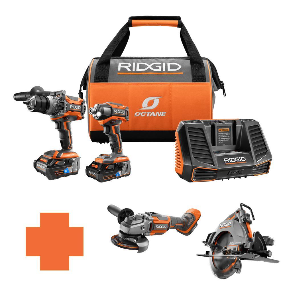 RIDGID 18-Volt OCTANE Lithium-Ion Cordless Brushless Combo Kit w/Bonus 7 1/4 in. Circ Saw & 4-1/2 in. Angle Grinder