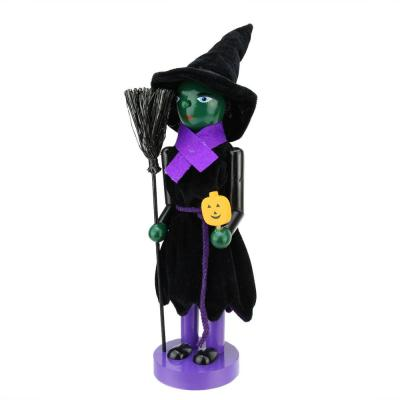 14 in. Green Witch Wooden Halloween Nutcracker