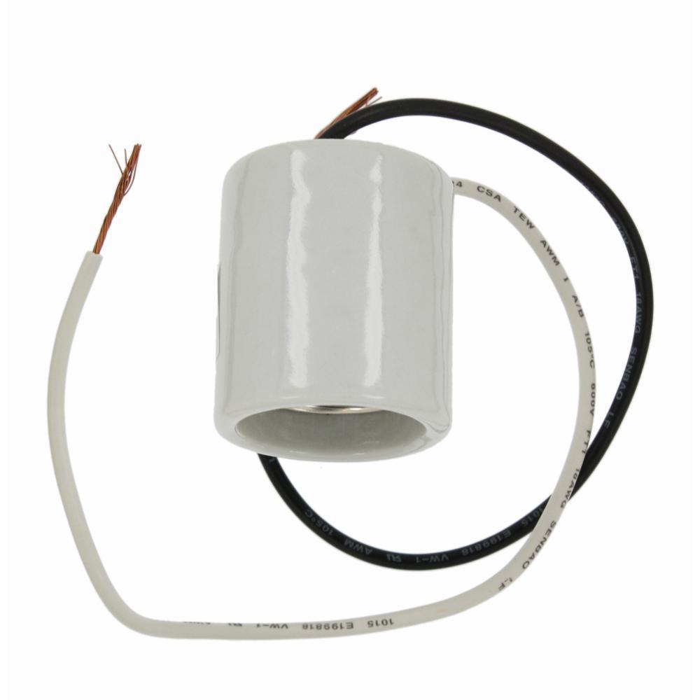 660W Medium Base One-Piece Single Circuit Keyless Mounting Screws Glazed Porcelain Incandescent Lampholder, White