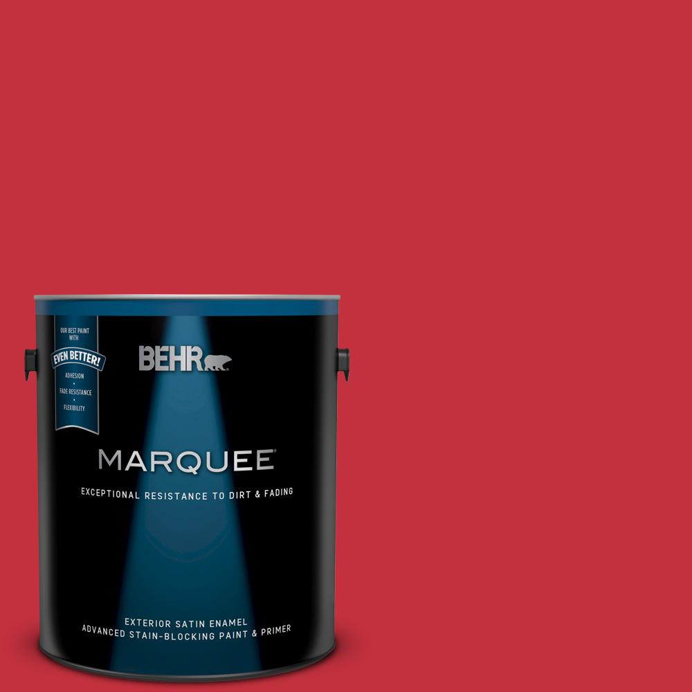 Behr Marquee 1 Gal 150b 7 Poinsettia Satin Enamel Exterior Paint And Primer In One 945301 The Home Depot
